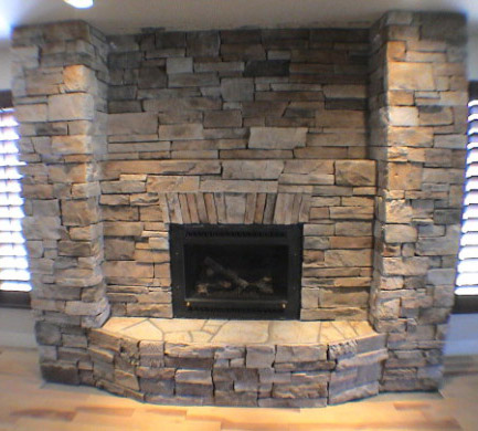 Stone Fireplace With Ashlar Pattern