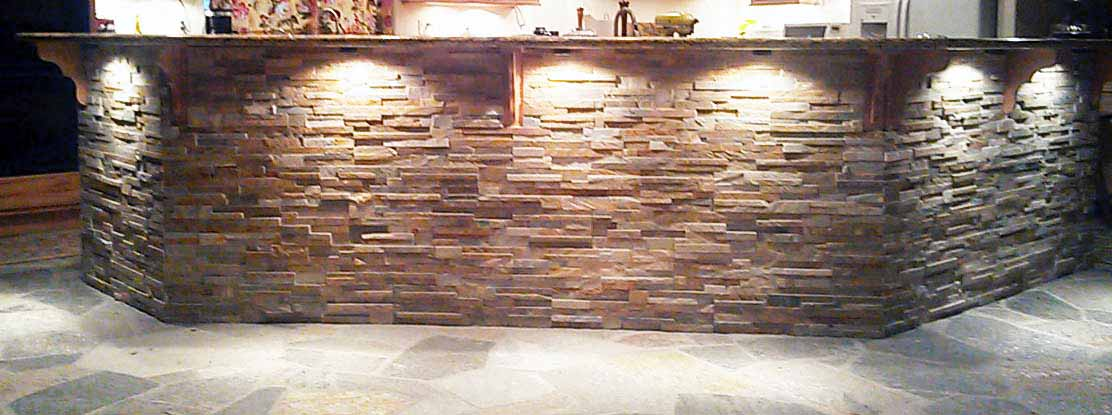 Stone Bar With Granite Top And Quartzite Floor