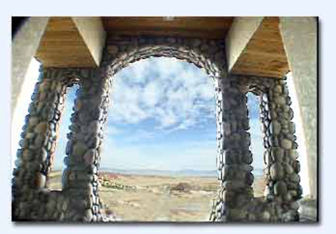 River Rock Arched Entrance For Custom Home