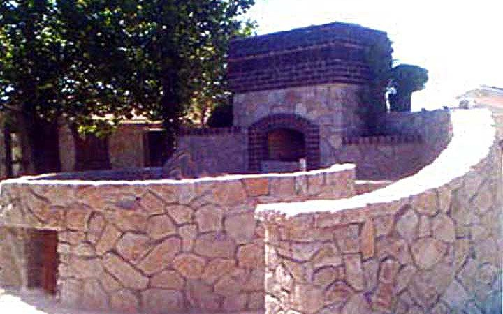 Granite Stone Spa With Embelished Clinker Brick Fireplace