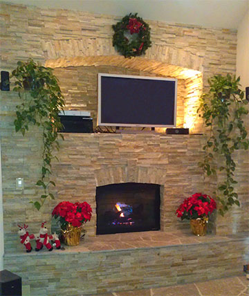 Stone Fireplace With Entertainment Center And Display Post