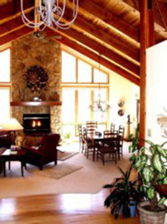 Native Stone Custom Fireplace With Columns To Support Mantel